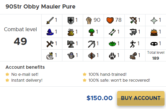 osrs obby mauler pure